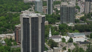 AX36_051 - 5K stock footage aerial video approaching Park Place Condominiums, Buckhead, Georgia