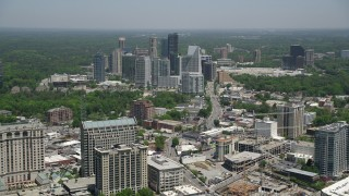 AX36_055 - 5K stock footage aerial video approaching skyscrapers, Buckhead, Georgia