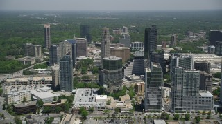 AX36_057 - 5K stock footage aerial video approaching skyscrapers, Buckhead, Georgia