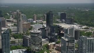 AX36_058 - 5K stock footage aerial video approaching 3344 Peachtree, Buckhead, Georgia