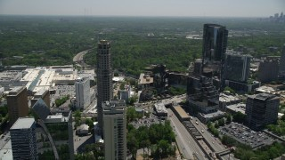 AX36_061 - 5K stock footage aerial video flying away from The Mansion and 3344 Peachtree, Buckhead, Georgia