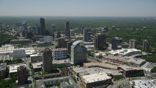AX36_064 - 5K stock footage aerial video of office buildings and skyscrapers, Buckhead, Georgia