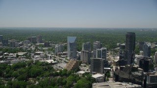AX36_066 - 5K stock footage aerial video approaching Terminus Atlanta, Buckhead, Georgia