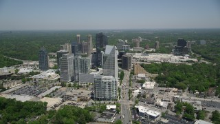 AX36_068 - 5K stock footage aerial video approaching Terminus Atlanta and skyscrapers, Buckhead, Georgia