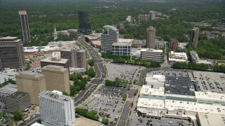AX36_070 - 5K stock footage aerial video following Peachtree Road approaching The Pinnacle, Buckhead, Georgia