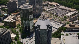 AX36_076 - 5K stock footage aerial video approaching and tilting down to bird's eye of Buckhead Grand, Georgia