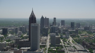 AX36_090 - 5K stock footage aerial video approaching Bank of America Plaza and AT&T Building, Midtown Atlanta, Georgia
