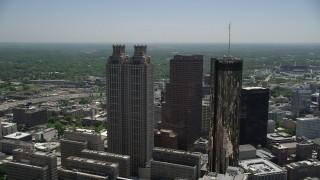 AX36_095 - 5K stock footage aerial video flying by skyscrapers, Downtown Atlanta, Georgia