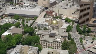 AX36_098 - 5K stock footage aerial video orbiting Georgia State Capitol, Downtown Atlanta