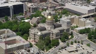 AX36_099 - 5K stock footage aerial video orbiting Georgia State Capitol, Downtown Atlanta