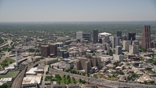 AX36_100 - 5K stock footage aerial video of Downtown Atlanta skyscrapers, high-rises and office buildings Georgia