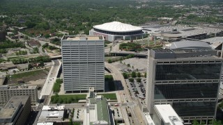 AX36_102 - 5K stock footage aerial video approaching Georgia Dome, Downtown Atlanta