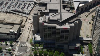 AX36_106 - 5K stock footage aerial video orbiting CNN Center, Downtown Atlanta, Georgia