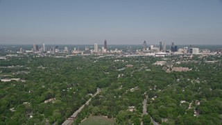 AX37_006 - 5K stock footage aerial video of Midtown and Downtown Atlanta seen from West Atlanta, Georgia