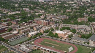 AX37_008E - 5K stock footage aerial video of sports field and Morehouse College, Atlanta, Georgia