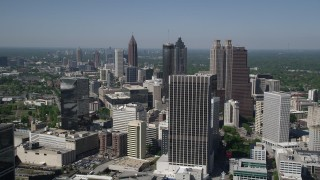 AX37_013 - 5K stock footage aerial video flying over Downtown skyscrapers and office buildings, Atlanta, Georgia
