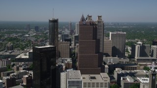 AX37_014 - 5K stock footage aerial video flying by skysrapers, Downtown Atlanta, Georgia