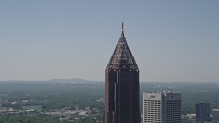 AX37_016 - 5K stock footage aerial video of a medium shot approaching Bank of America Plaza, Midtown Atlanta