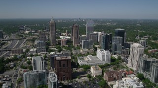 AX37_019 - 5K stock footage aerial video approaching One Atlantic Center, GLG Grand, 1180 Peachtree, Midtown Atlanta, Georgia