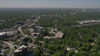 AX37_022 - 5K stock footage aerial video approaching WSB TV station, Midtown Atlanta, Georgia