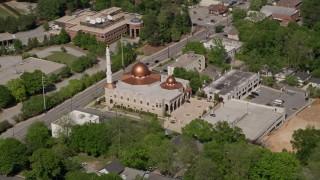 AX37_033 - 5K stock footage aerial video of Al-Farooq Masjid of Atlanta, Atlanta, Georgia