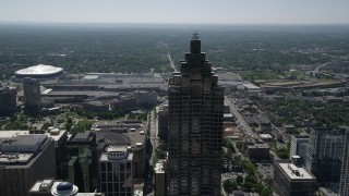 AX37_051 - 5K stock footage aerial video orbiting top of SunTrust Plaza, Downtown Atlanta, Georgia