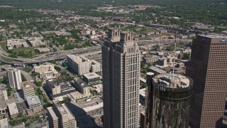 AX37_053 - 5K stock footage aerial video orbiting 191 Peachtree Tower, Downtown Atlanta, Georgia
