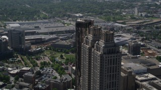 AX37_055 - 5K stock footage aerial video orbiting the top of 191 Peachtree Tower, Downtown Atlanta