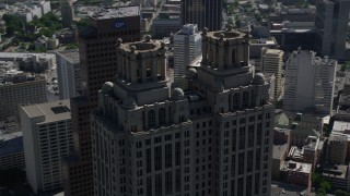 AX37_056 - 5K stock footage aerial video orbiting top of 191 Peachtree Tower, Downtown Atlanta