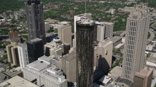 AX37_057 - 5K stock footage aerial video orbiting Westin Peachtree Plaza Hotel, Downtown Atlanta, Georgia
