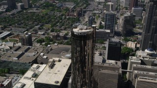 AX37_058 - 5K stock footage aerial video orbiting Westin Peachtree Plaza Hotel, Downtown Atlanta