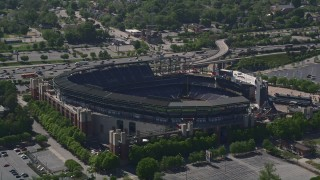 AX37_062 - 5K stock footage aerial video orbiting Turner Field, Atlanta, Georgia