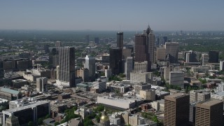 AX37_064 - 5K stock footage aerial video approaching Downtown Atlanta skyscrapers, Georgia