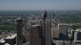 AX37_066 - 5K stock footage aerial video flying over skyscrapers approaching SunTrust Plaza, Downtown Atlanta