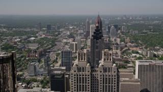 AX37_067 - 5K stock footage aerial video flying over Midtown Atlanta skyscrapers, Georgia