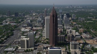 AX37_068 - 5K stock footage aerial video approaching Bank of America Plaza and tilt down to bird's eye, Midtown Atlanta