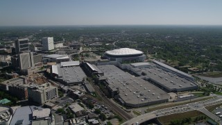 AX37_076 - 5K stock footage aerial video approaching over Georgia World Congress Center to Georgia Dome, Atlanta, Georgia