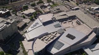 AX37_078 - 5K stock footage aerial video approaching Georgia Aquarium, Atlanta, Georgia