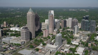 AX37_081 - 5K stock footage aerial video approaching Midtown Atlanta skyscrapers, Georgia