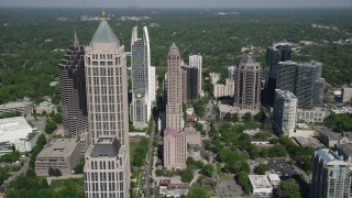 AX37_082 - 5K stock footage aerial video flying by Midtown Atlanta skyscrapers, Georgia