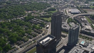 AX37_083 - 5K stock footage aerial video orbiting The Atlantic skyscraper, Atlanta, Georgia