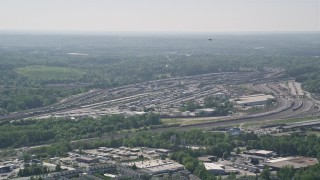 AX37_085 - 5K stock footage aerial video approaching a train yard, Atlanta, Georgia