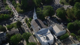 AX38_011 - 5K stock footage aerial video passing a small city church Church, Buckhead, Georgia
