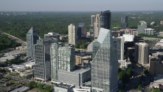 AX38_014 - 5K stock footage aerial video of a medium shot orbiting Terminus Atanta, Buckhead, Georgia