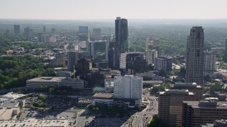AX38_017 - 5K stock footage aerial video flying by skyscrapers, Buckhead, Georgia