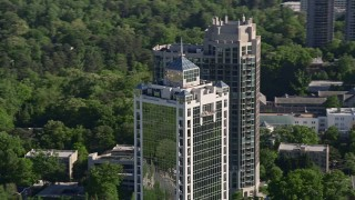 AX38_029 - 5K stock footage aerial video orbiting 2828 Peachtree skyscraper, Buckhead, Georgia
