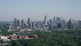AX38_031 - 5K stock footage aerial video of the Midtown Atlanta skyline, Buckhead, Georgia