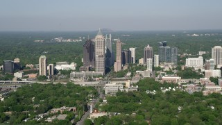 AX38_060 - 5K stock footage aerial video approaching Midtown Atlanta skyscrapers from West Atlanta, Georgia