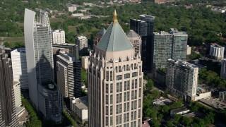 AX38_063 - 5K stock footage aerial video close-up of One Atlantic Center, Midtown Atlanta, Georgia
