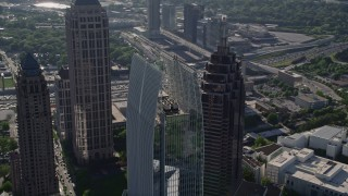 AX38_064 - 5K stock footage aerial video orbiting 1180 Peachtree skyscraper, Midtown Atlanta, Georgia